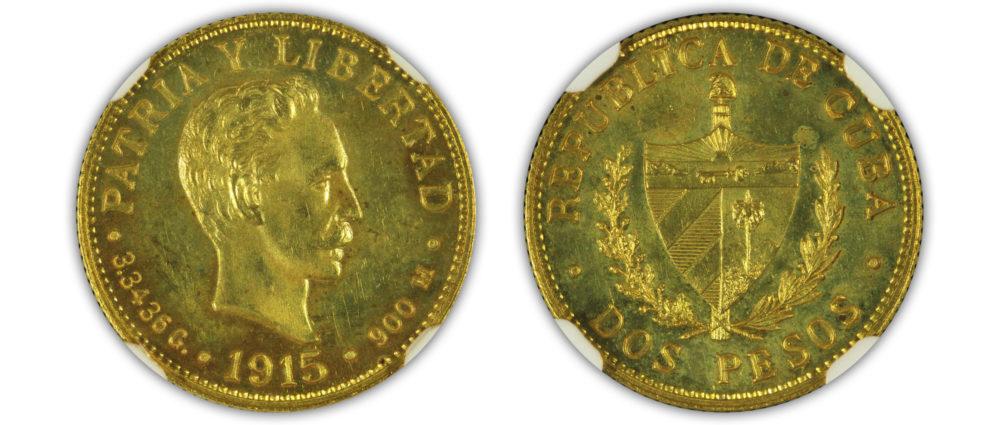 1915. Cuba. Gold 2 Pesos. NGC PF64+
