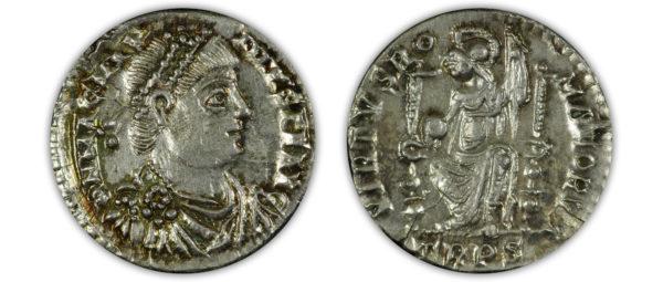 Magnus Maximus (AD 383-388) AR Siliqua. Gem Mint State
