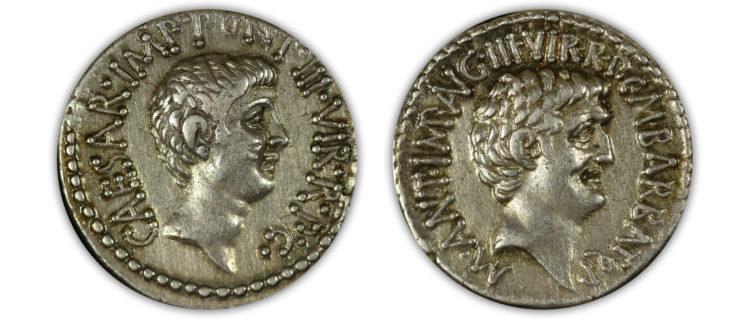 Octavian & Antony Triumvirate AR Denarius