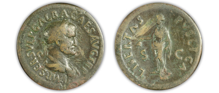 Roman Empire. Galba Sestertius. AE. AD 68-69